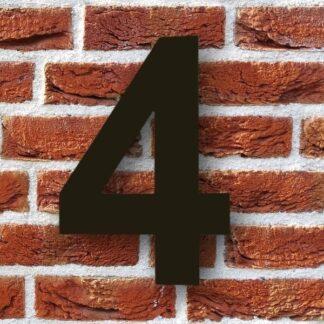 huisnummer 4 zwart rvs staal modern 15cm 20cm