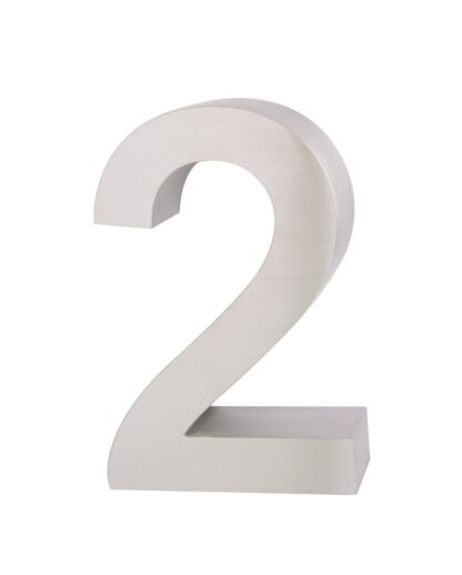 3D Huisnummer rvs 2 20cm hoog 3cm dik