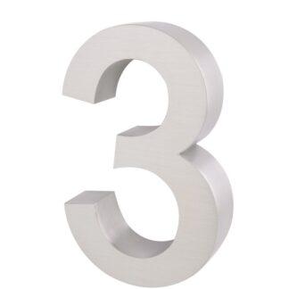 3D Huisnummer rvs 3 20cm hoog 3cm dik
