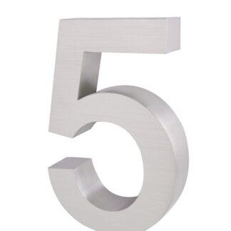 3D Huisnummer rvs 5 20cm hoog 3cm dik
