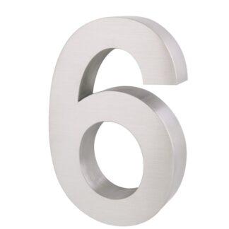 3D Huisnummer rvs 6 20cm hoog 3cm dik