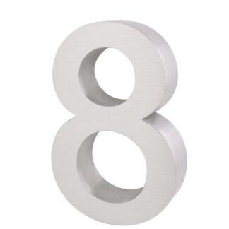 3D Huisnummer rvs 8 20cm hoog 3cm dik