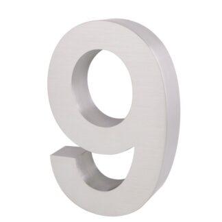 3D Huisnummer rvs 9 20cm hoog 3cm dik