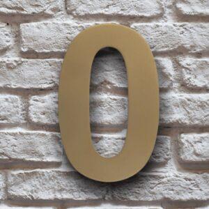 Goud Huisnummer 0 RVS 15 cm