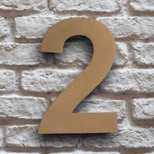 Goud Huisnummer 2 RVS 15 cm
