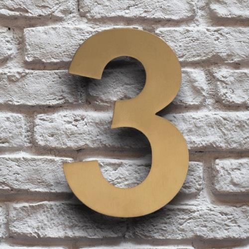 huisnummer 3 goud rvs 15cm klassiek