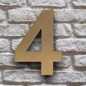 Goud Huisnummer 4 RVS 15 cm