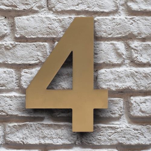 huisnummer 4 goud rvs 15cm klassiek