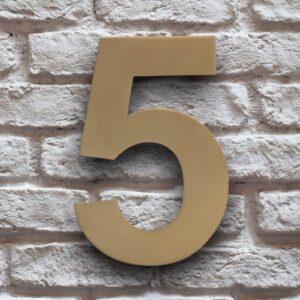 Goud Huisnummer 5 RVS 15 cm