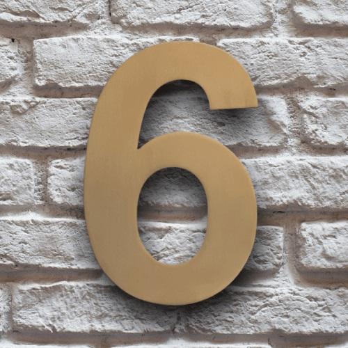 huisnummer 6 goud rvs 15cm klassiek