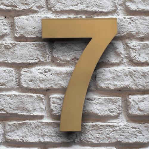 huisnummer 7 goud rvs 15cm klassiek