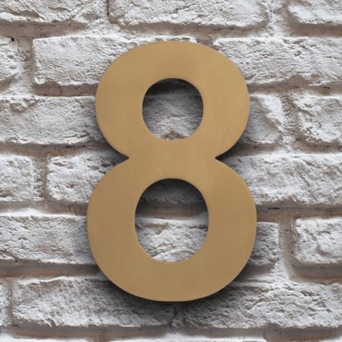 huisnummer 8 goud rvs 15cm klassiek