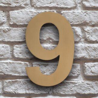 huisnummer 9 goud rvs 15cm klassiek