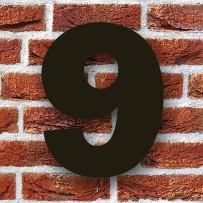 huisnummer 9 zwart 15cm franklink gothic dikgedrukt industrieel
