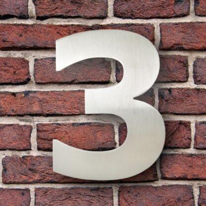 huisnummer 3 rvs verdana 15cm roestvast staal
