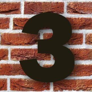 huisnummer 3 zwart 15cm franklink gothic dikgedrukt industrieel