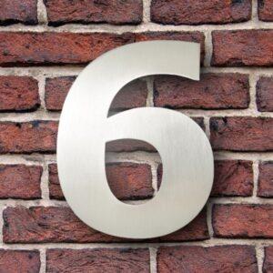 Huisnummer 6 RVS 15 cm (Verdana)