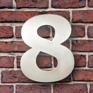 Huisnummer 8 RVS 15 cm (Verdana)