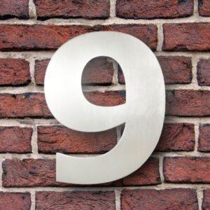 Huisnummer 9 RVS 15 cm (Verdana)