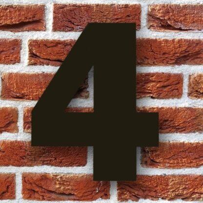 huisnummer 4 zwart 15cm franklink gothic dikgedrukt industrieel
