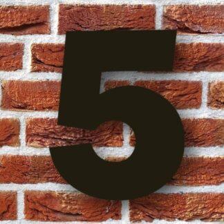 huisnummer 5 zwart 15cm franklink gothic dikgedrukt industrieel