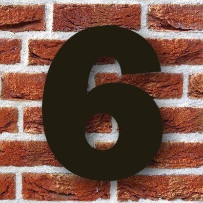 huisnummer 6 zwart 15cm franklink gothic dikgedrukt industrieel