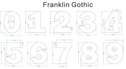 Franklin Gothic huisnummers afmetingen