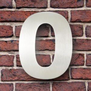 Huisnummer 0 RVS 15 cm (Verdana)