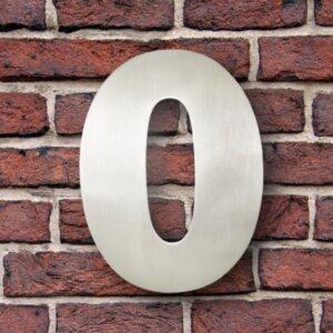 Huisnummer 0 RVS 15 cm (Franklin Gothic)