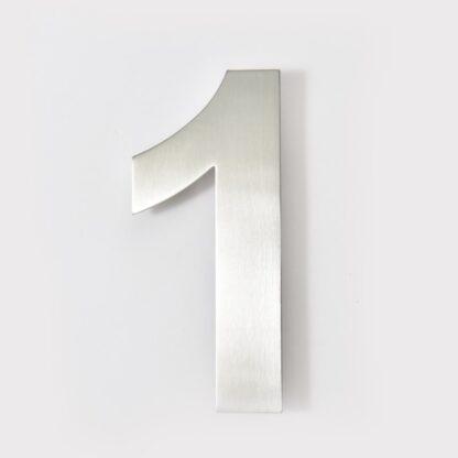 huisnummer 1 rvs 15cm 20cm