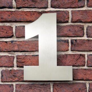 huisnummer 1 rvs Franklin Gothic 15cm opvallend roestvrij staal