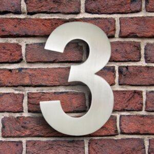Huisnummer 3 RVS 15 cm (Arial)