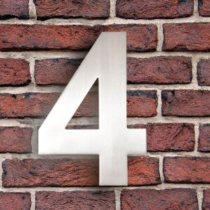 Huisnummer 4 RVS 15 cm (Arial)