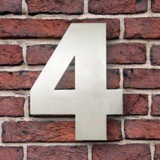 huisnummer 4 rvs Franklin Gothic 15cm opvallend roestvrij staal