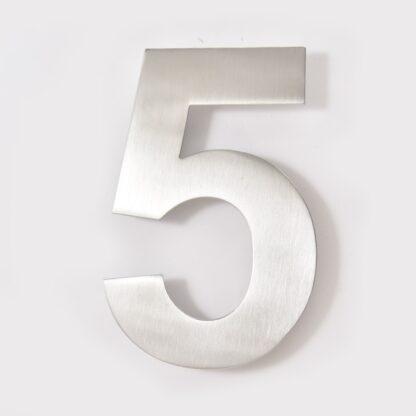 huisnummer 5 rvs 15cm 20cm