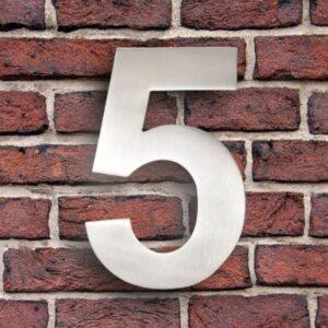 Huisnummer 5 RVS 20 cm (groot)