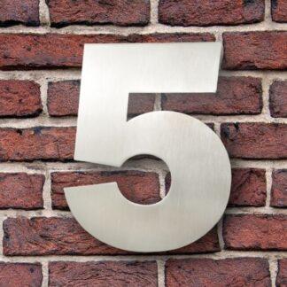 huisnummer 5 rvs Franklin Gothic 15cm opvallend roestvrij staal
