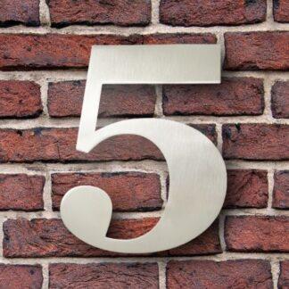 huisnummer 5 rvs georgia 15cm roestvast staal