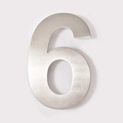 huisnummer 6 rvs 15cm 20cm
