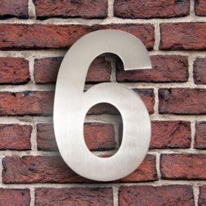 Huisnummer 6 RVS 15 cm (Arial)
