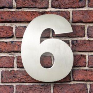 Huisnummer 6 RVS 15 cm (Franklin Gothic)