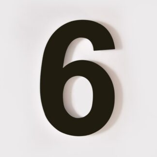 huisnummer 6 zwart 15cm 20cm staal rvs modern industrieel