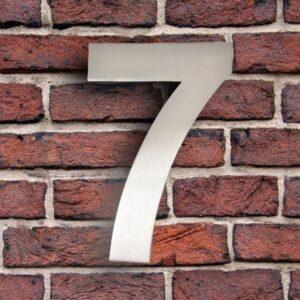 Huisnummer 7 RVS 15 cm (Arial)