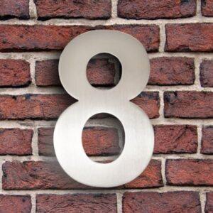 Huisnummer 8 RVS 15 cm (Arial)