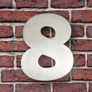 Huisnummer 8 RVS 15 cm (Franklin Gothic)