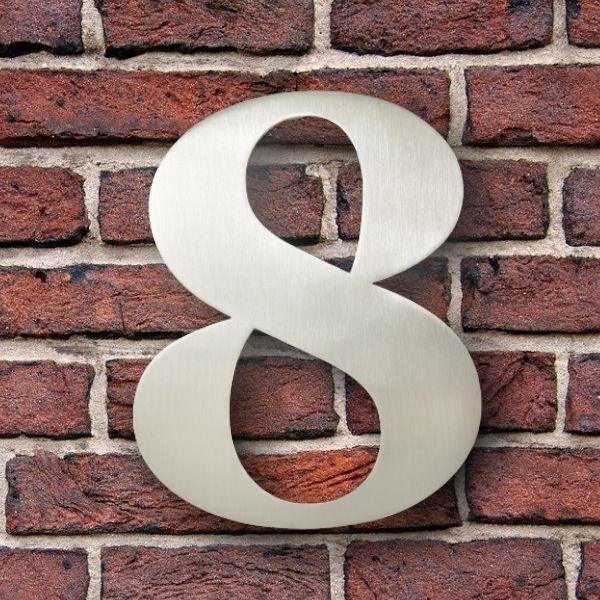 huisnummer 8 rvs georgia 15cm roestvast staal