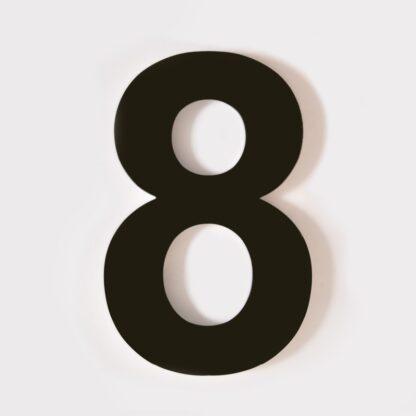 huisnummer 8 zwart 15cm 20cm staal rvs