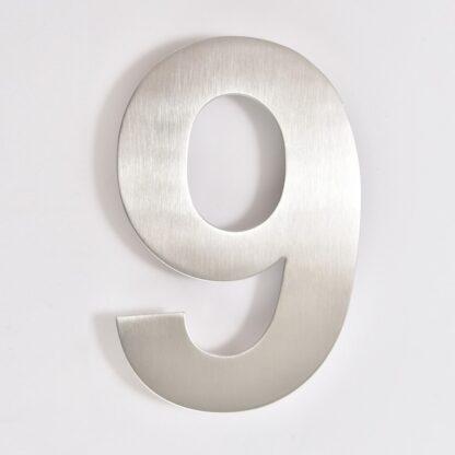 huisnummer 9 rvs 15cm 20cm
