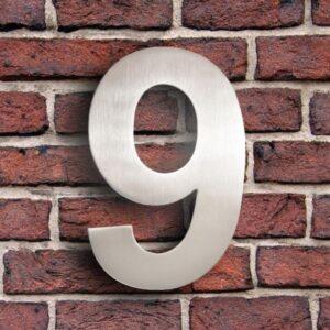 Huisnummer 9 RVS 15 cm (Arial)