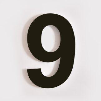 huisnummer 9 zwart 15cm 20cm staal rvs modern industrieel